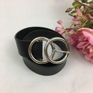 Black Genuine Italian Leather Belt S